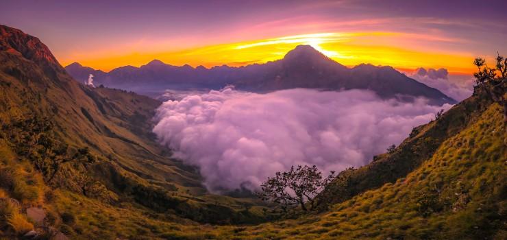 Here Plawangan Sembalun crater rim altitude 2639 meters mount Rinjani
